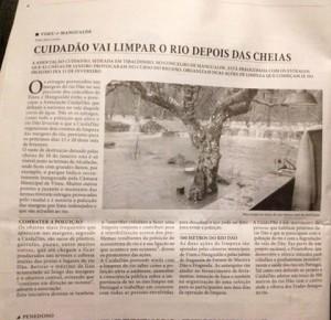 Noticia no Jornal do Centro sobre a limpeza do Rio Dão organizada pela CuidaDão.